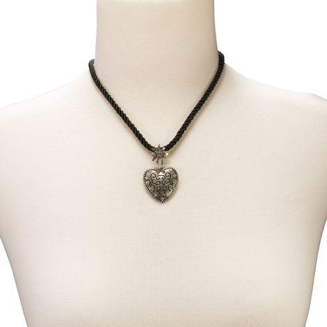 Kordelband-Halskette Strass-Herz (schwarz) Bild 4
