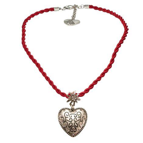 Kordelband-Trachtenkette Strass-Herz (rot)