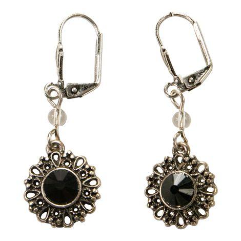 Trachten-Ohrhänger Ornament rund (schwarz) Bild 1