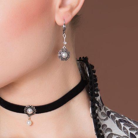 Trachten-Ohrhänger Ornament rund (creme-weiß) Bild 2