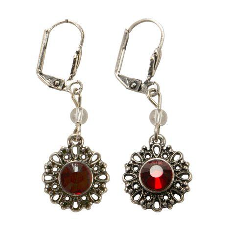 Trachten-Ohrhänger Ornament rund (rot) Bild 1