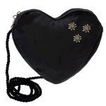 Herztasche Strass-Edelweiß Mini (schwarz)