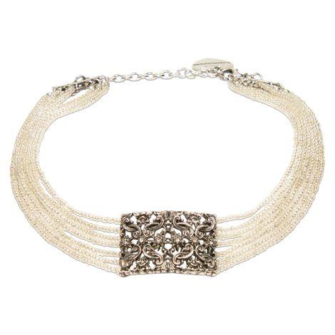 Trachten-Perlen-Kropfkette Edelweiß-Ornament (klar-kristall)