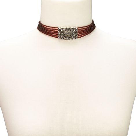 Perlen-Kropfkette Edelweiß-Ornament (rot) Bild 3