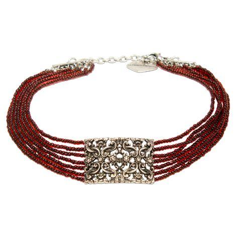 Perlen-Kropfkette Edelweiß-Ornament (rot) Bild 1