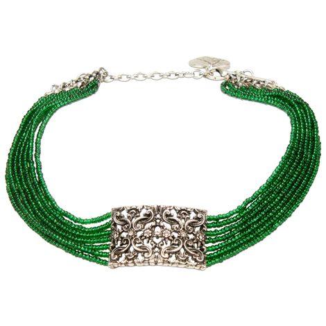 Perlen-Kropfkette Edelweiß-Ornament (grün) Bild 1