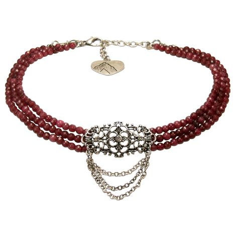Perlen-Kropfkette Thea (rot) Bild 1