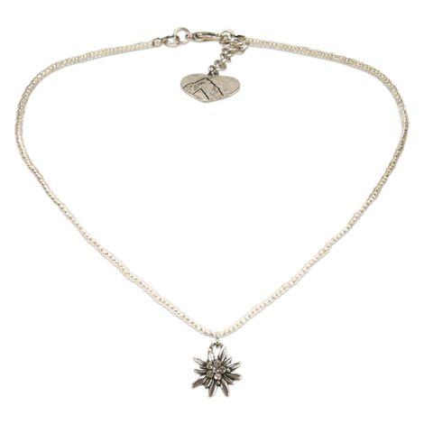 Filigran Perlen-Halskette Strass-Edelweiß (klar-kristall) Bild 1