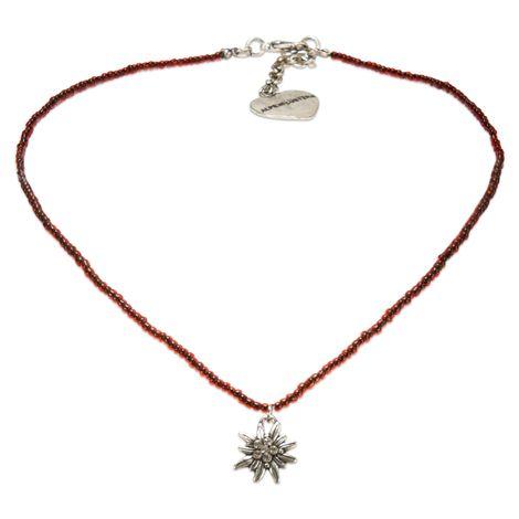 Filigran Perlen-Halskette Strass-Edelweiß (rot) Bild 1