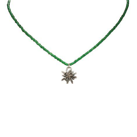 Filigran Perlen-Halskette Strass-Edelweiß (grün) Bild 2