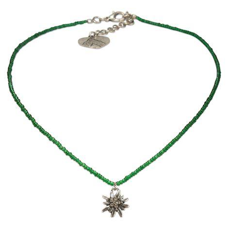 Filigran Perlen-Halskette Strass-Edelweiß (grün) Bild 1