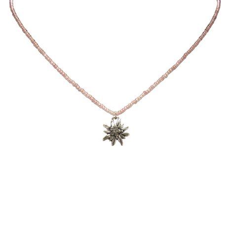 Filigran Perlen-Halskette Strass-Edelweiß (flieder) Bild 2