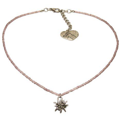 Filigran Perlen-Halskette Strass-Edelweiß (flieder) Bild 1