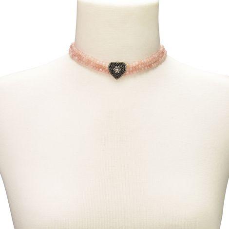 Perlen-Kropfkette Ornament-Herz (rosa-rosé) Bild 4