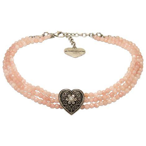 Perlen-Kropfkette Ornament-Herz (rosa-rosé) Bild 1