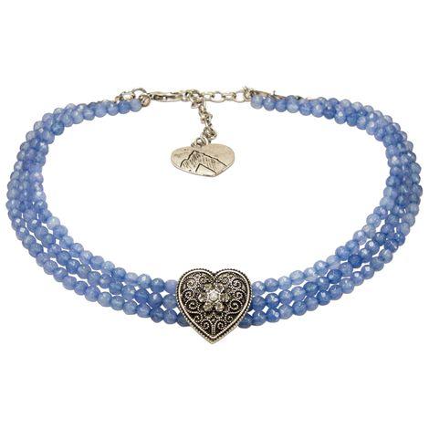 Perlen-Kropfkette Ornament-Herz (hell-blau) Bild 1