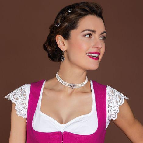 Perlen-Kropfkette Strassherz-Hirsch (creme-weiß) Bild 2