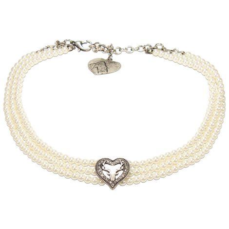 Perlen-Kropfkette Strassherz-Hirsch (creme-weiß) Bild 1