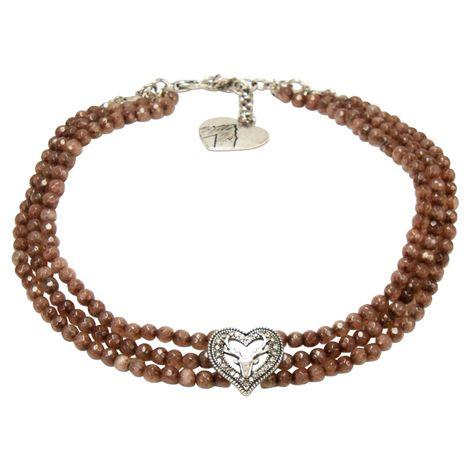 Perlen-Kropfkette Strassherz-Hirsch (braun) Bild 1