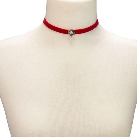 Samt-Kropfband Helena (rot) Bild 3