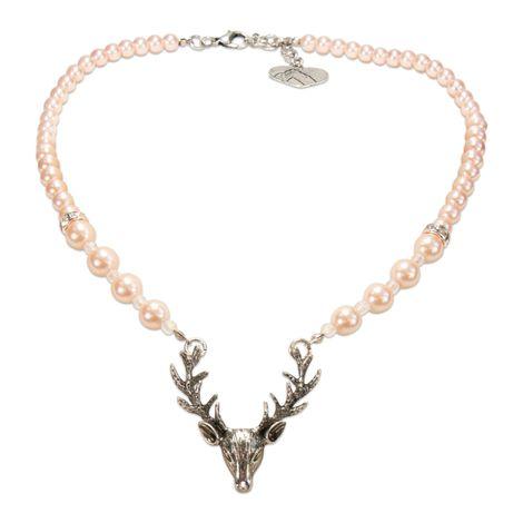 Perlen-Halskette Hirsch (rosa-rosé) Bild 1