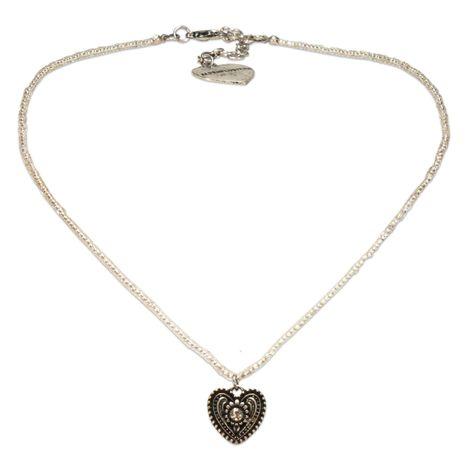 Filigran Perlen-Trachtenkette Trachtenherz (klar-kristall)