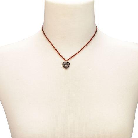 Filigran Perlen-Halskette Trachtenherz (rot) Bild 3