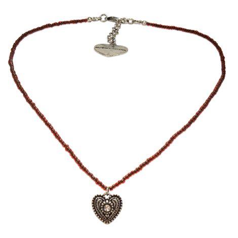 Filigran Perlen-Halskette Trachtenherz (rot) Bild 1