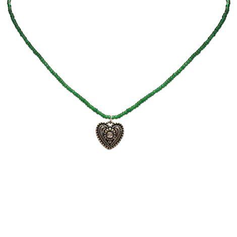 Filigran Perlen-Halskette Trachtenherz (grün) Bild 2