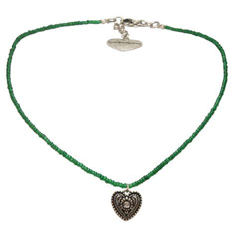 Filigran Perlen-Halskette Trachtenherz (grün) Bild 1