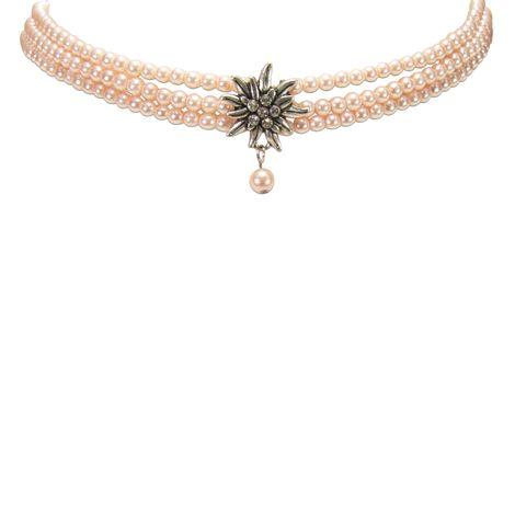 Perlen-Kropfkette Strass-Edelweiß (rosa-rosé) Bild 2
