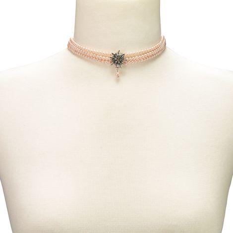Perlen-Kropfkette Strass-Edelweiß (rosa-rosé) Bild 3