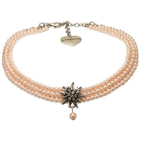 Perlen-Kropfkette Strass-Edelweiß (rosa-rosé) Bild 1