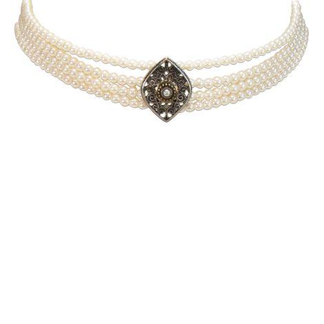Perlen-Kropfkette Melina (creme-weiß) Bild 3