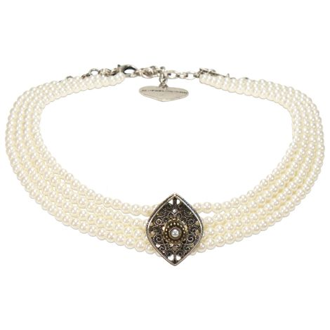 Trachten-Perlen-Kropfkette Melina (creme-weiß)