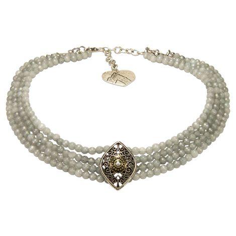 Perlen-Kropfkette Melina (grau) Bild 1