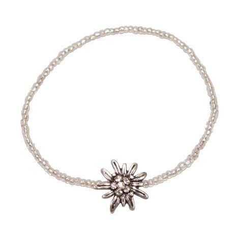Filigran Perlen-Trachten-Armband Strass-Edelweiß (klar-kristall)