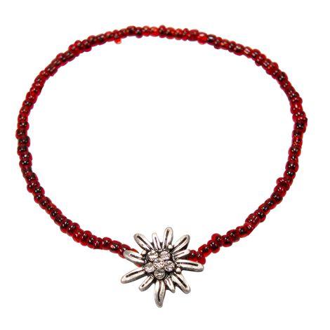 Filigran-Perlenarmband Strass-Edelweiß (rot) Bild 1