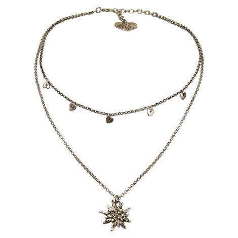Metall-Halskette Strass-Edelweiß & Herzchen (antik-silber-farben) Bild 1