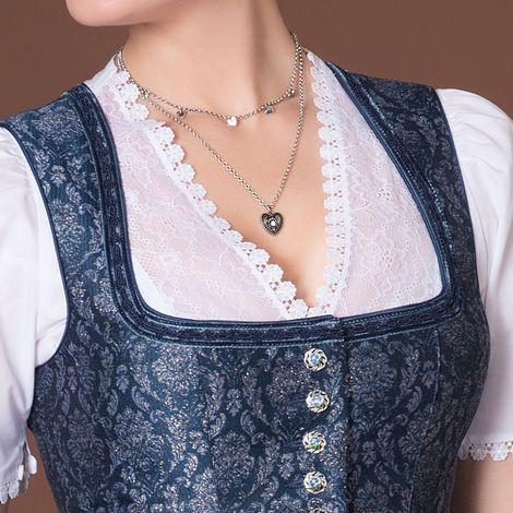 Metall-Halskette Trachtenherz & Herzchen (antik-silber-farben) Bild 2