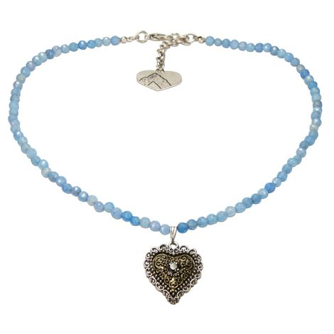 Perlen-Halskette Trachtenherz (hell-blau) Bild 1