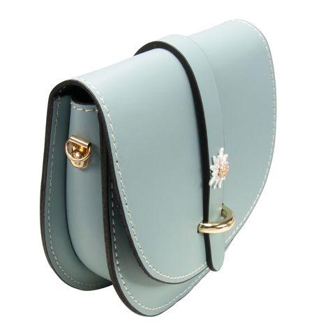 Echt-Leder Trachtentasche Strass-Edelweiß (hell-blau) Bild 3