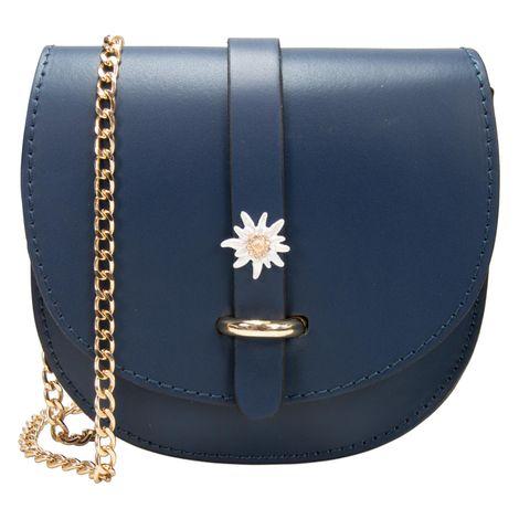 Echt-Leder Trachtentasche Strass-Edelweiß (blau) Bild 1