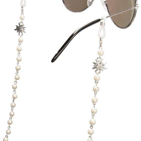 Brillenkette Strass-Edelweiss und Perlen (silber-farben) Bild 2