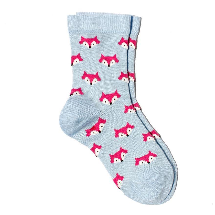 Fuchs Socke Biobaumwolle hellblau