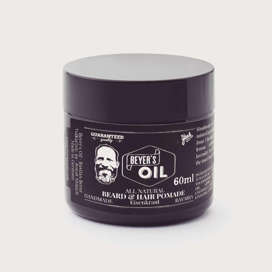 Beyer's Oil Beard & Hair Pomade - Bart & Haar Pomade - 100% natürlich - Handgemacht in Bayern - 60ml