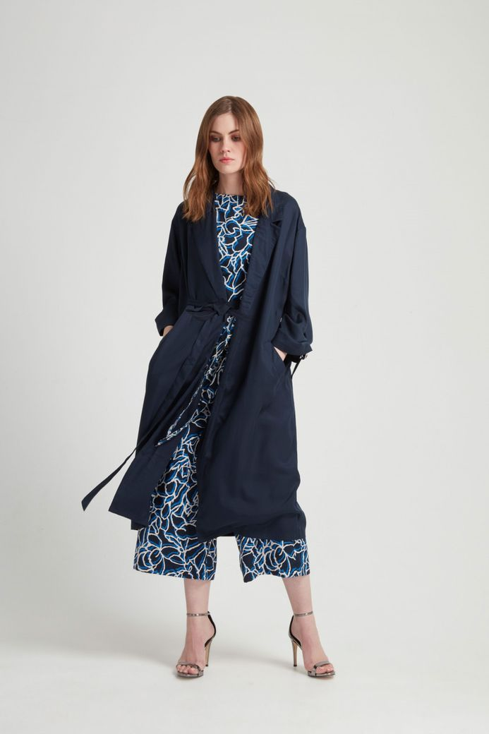 Elma Duster Coat Navy Tencel – Bild 4