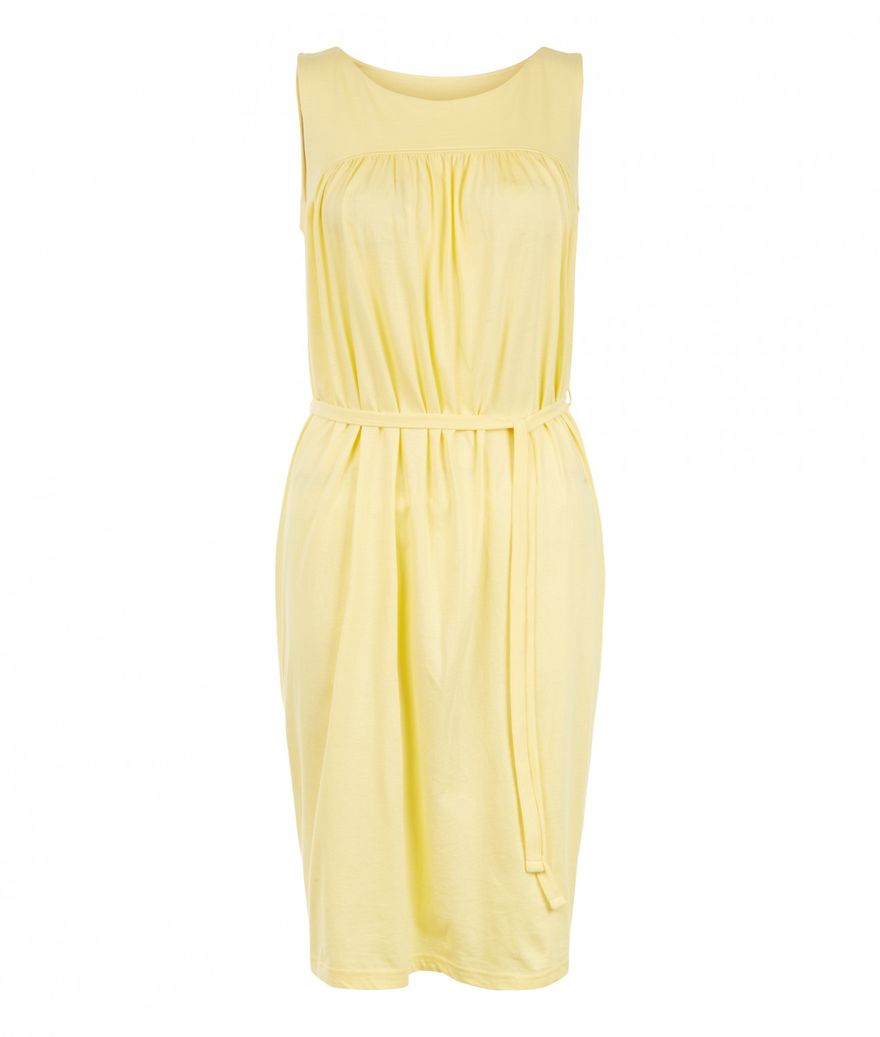 Gathered Tie Dress Yellow – Bild 1