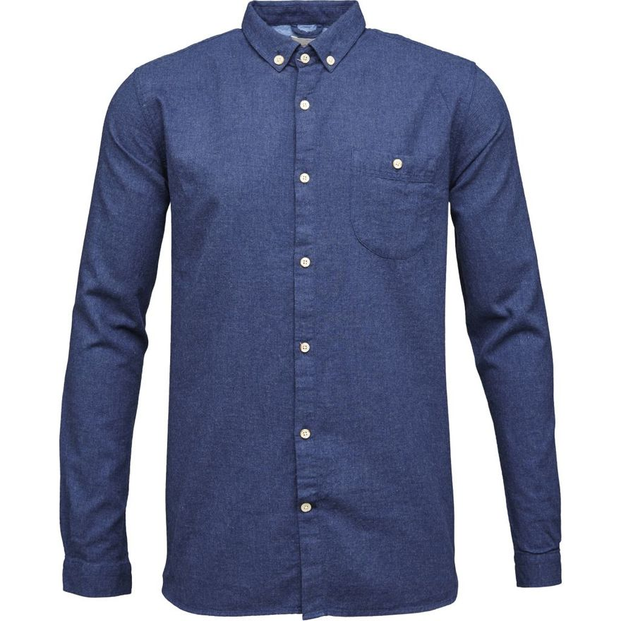 Melange Effect Flannel Shirt GOTS Estate Blue – Bild 1