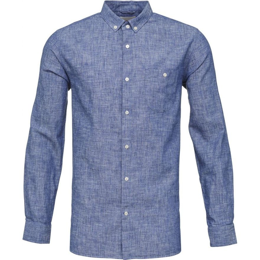 Cotton/Linen Shirt GOTS Strong Blue – Bild 1